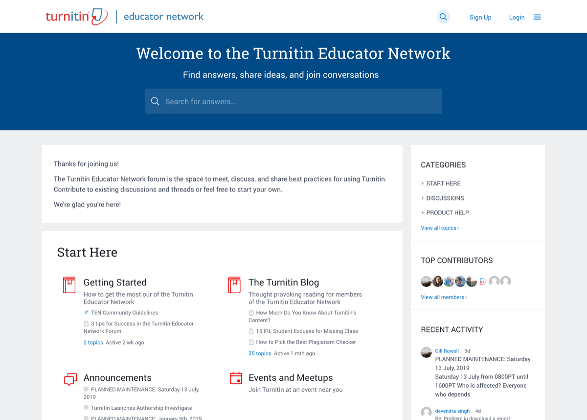 Turnitin Educator Network