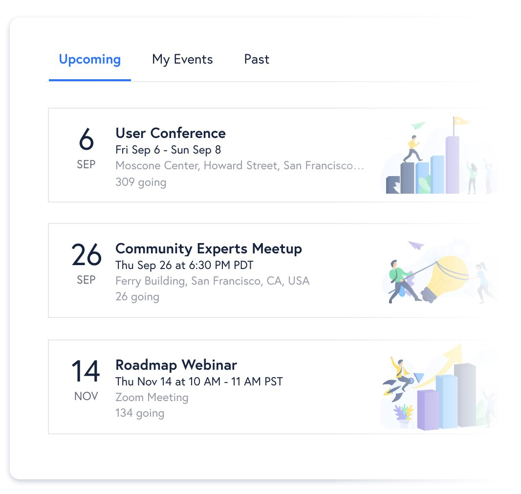 Viewing upcoming events in the community calendar