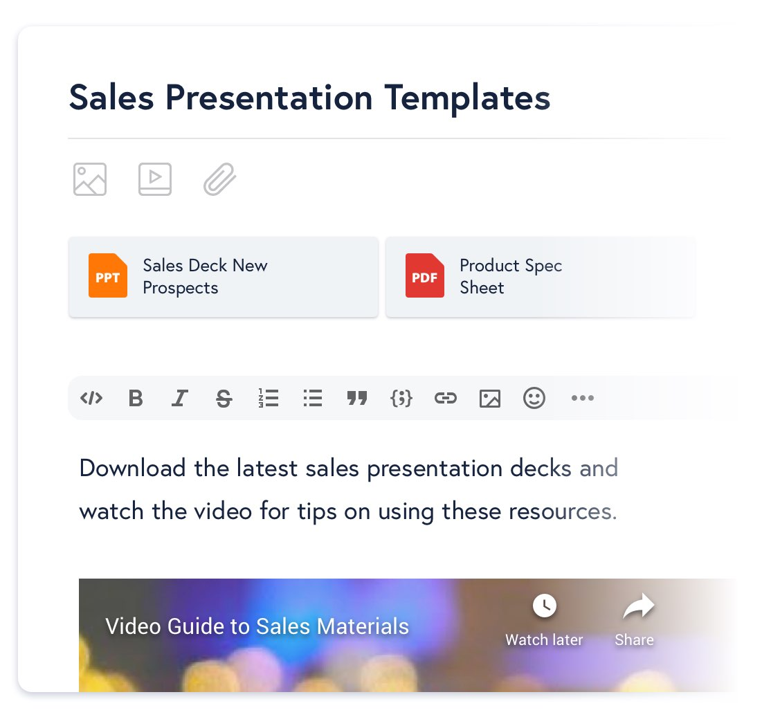 A community post that includes a Sales Deck PowerPoint file and video guide to the materials.