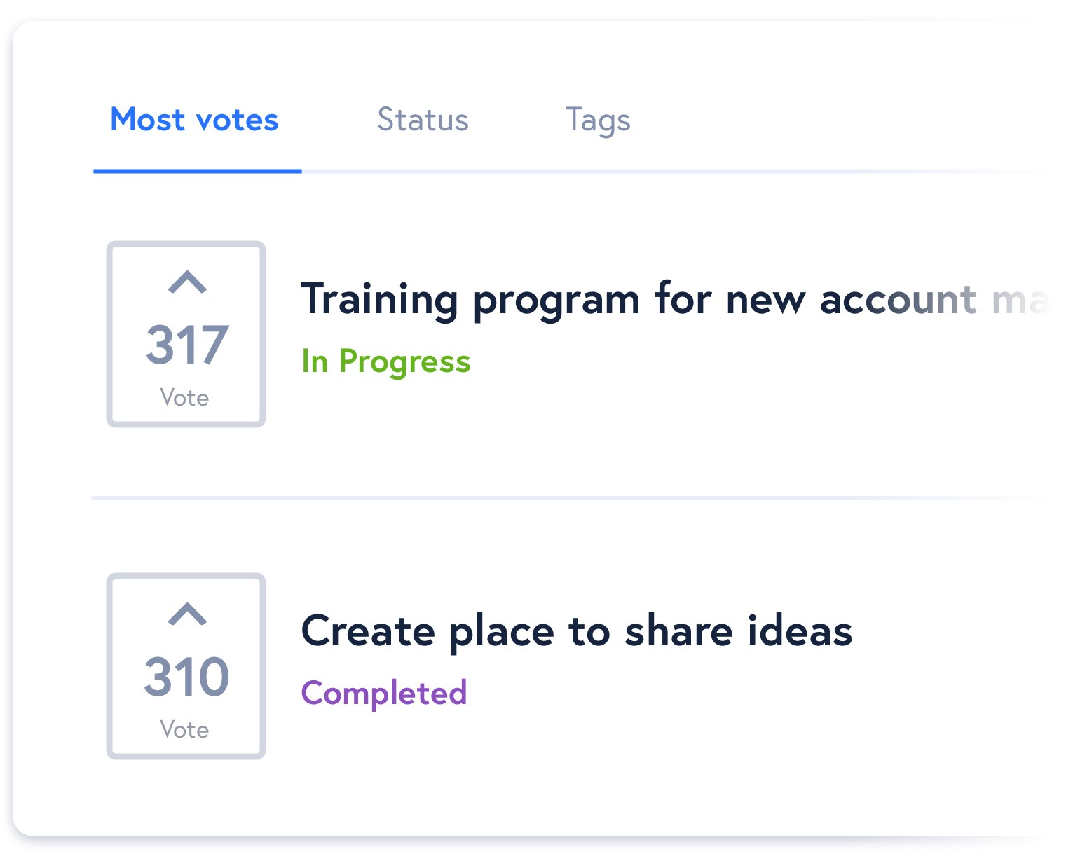 Employee ideas sorted by most votes and showing completion status