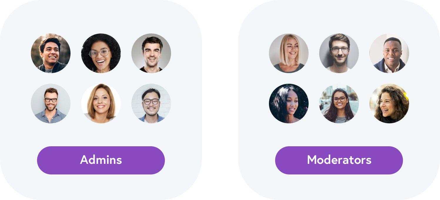 Team admins and moderators