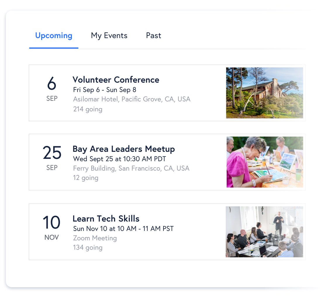 Events calendar shows upcoming an volunteer conference, a leaders meetup and a tech skills training session.